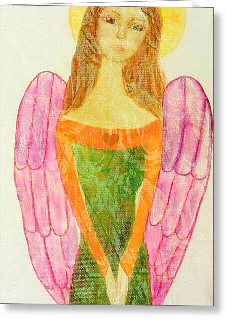 Folk Angel Protection Greeting Card by Sacred  Muse