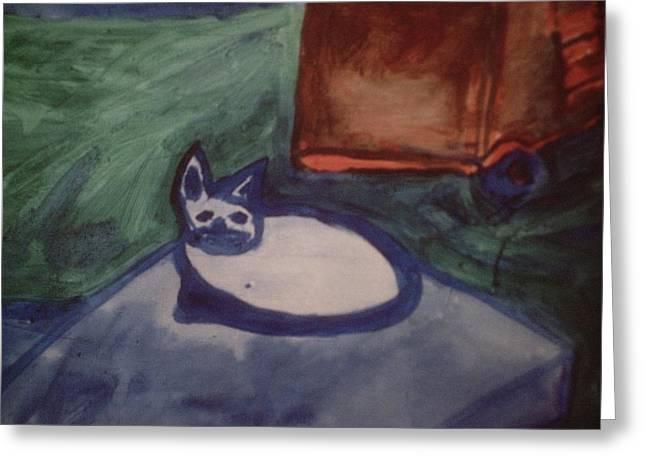 Folk Art Cat Greeting Card