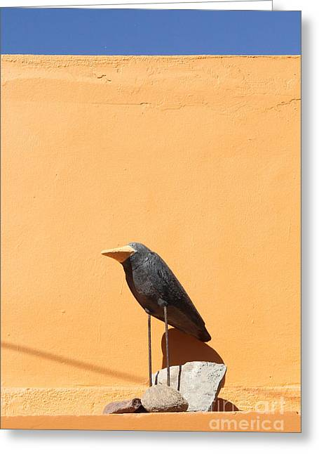 Folk Art Crow Todos Santos Greeting Card by Linda Queally