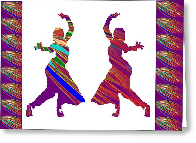 Folk Dance Sparkle Graphic Decorations Greeting Card by Navin Joshi