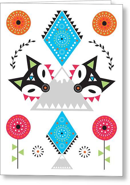 Folk Fox Greeting Card by Susan Claire