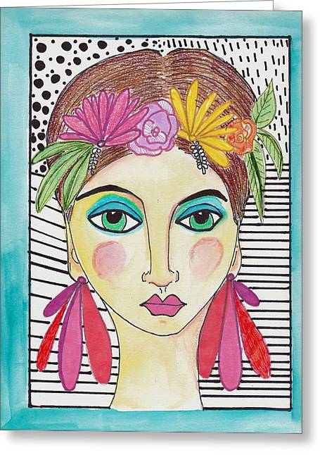 Folk Girl Pattern Greeting Card