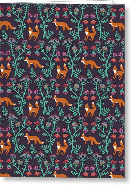 Folky Nature Vectors Damask Foxes.jpg Greeting Card