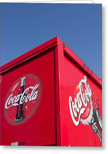 Follow That Truck Coca Cola Greeting Card by Scott Campbell