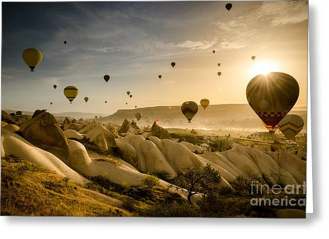 Follow The Wind - Cappadocia Turkey Greeting Card by OUAP Photography