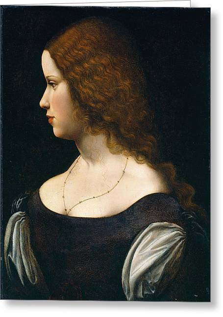 Follower Of Leonardo Da Vinci, Portrait Of A Young Lady Greeting Card by Litz Collection