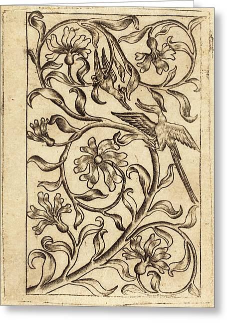 Follower Of Master Of The Playing Cards, Vine Ornament Greeting Card