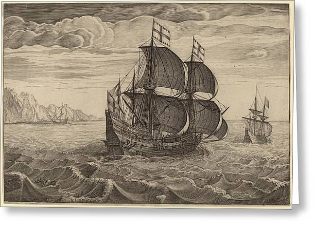Follower Of Pieter Bruegel The Elder, Ship In Full Sail Greeting Card by Quint Lox