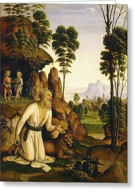Follower Of Pietro Perugino, Saint Jerome In The Wilderness Greeting Card