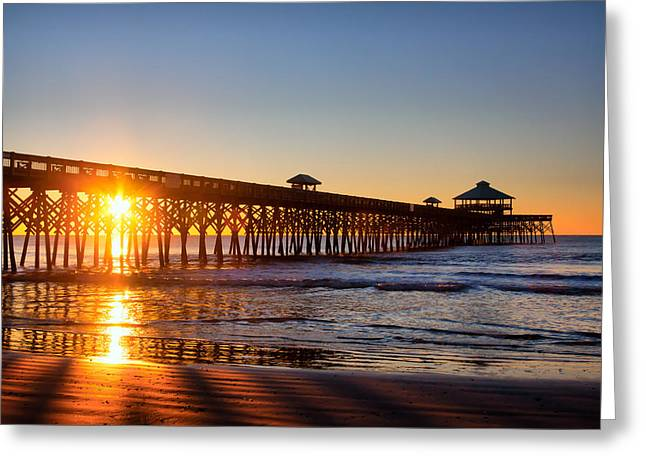 Folly Beach Pier At Sunrise Greeting Card by Lynne Jenkins