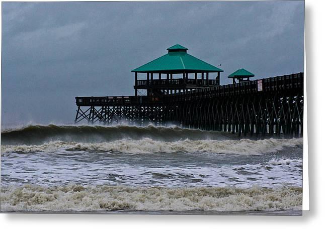 Folly Beach Pier During Sandy Greeting Card