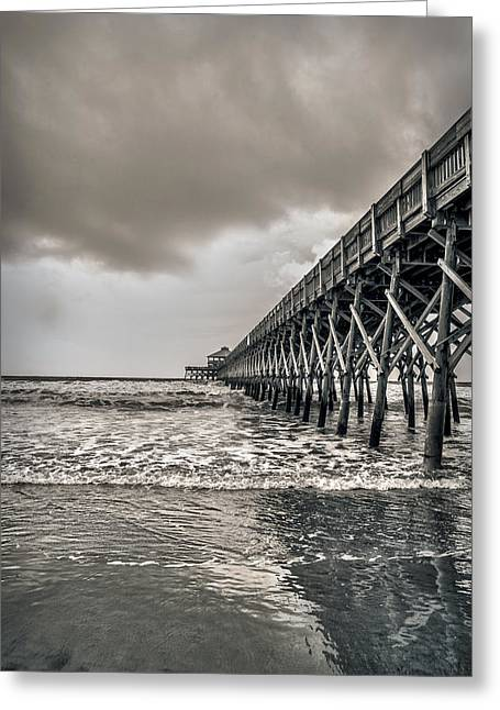 Greeting Card featuring the photograph Folly Beach Pier by Sennie Pierson
