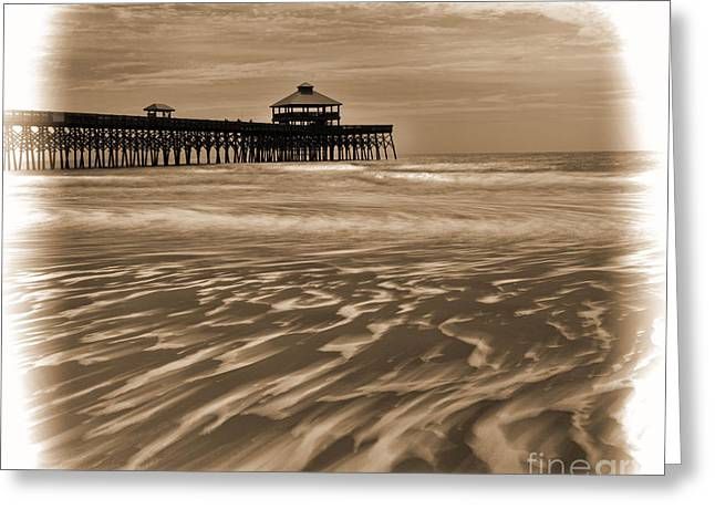 Folly Beach Pier Toned Greeting Card
