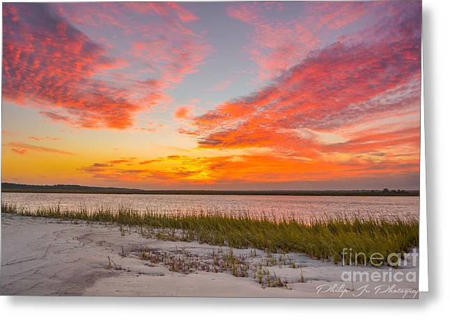 Folly October Sky X Sunset Greeting Card by Philip Jr Photography