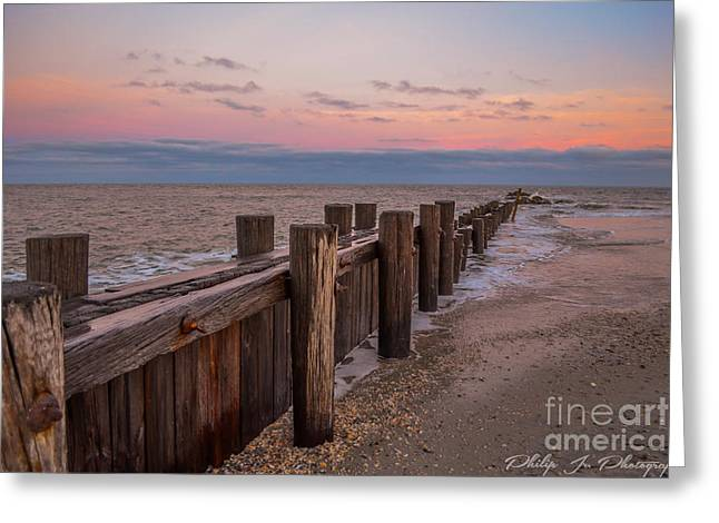Folly Sunset Greeting Card by Philip Jr Photography