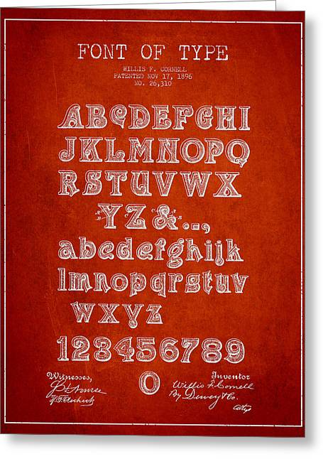 Font Of  Type Patent Drawing From 1896 - Red Greeting Card by Aged Pixel