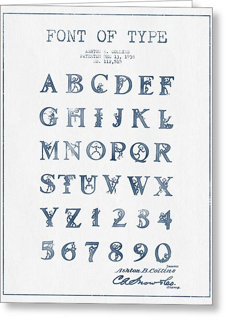 Font Patent Drawing From 1938 -  Blue Ink Greeting Card by Aged Pixel