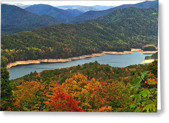 Fontana Lake In Fall Greeting Card