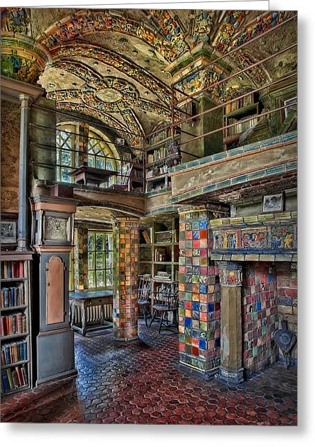 Fonthill Castle Library Room Greeting Card by Susan Candelario