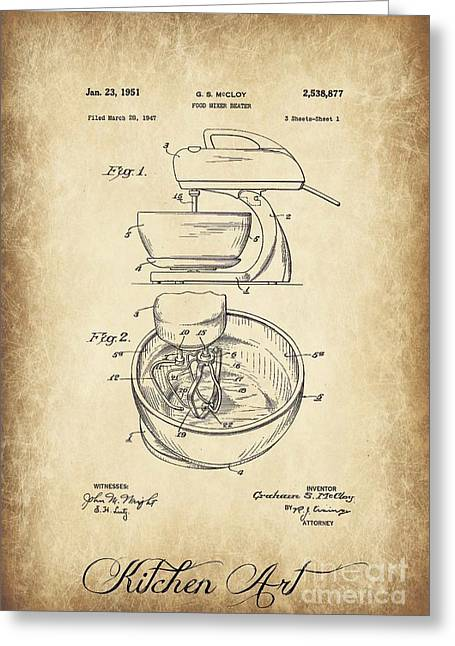 Food Mixer Patent Kitchen Art Greeting Card by Clare Bevan