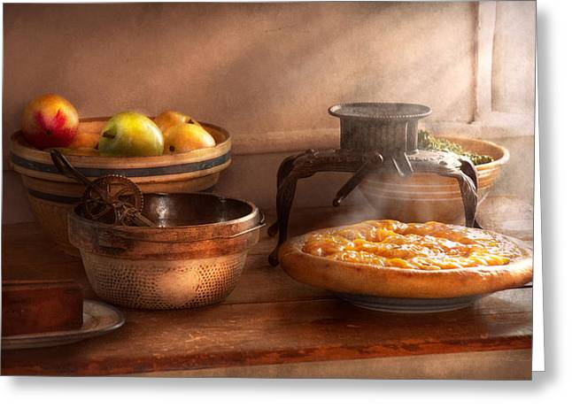 Food - Pie - Mama's Peach Pie Greeting Card by Mike Savad
