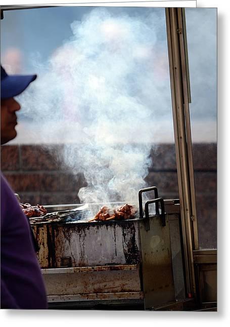 Food Street Vendor Cooking, Manhattan Greeting Card