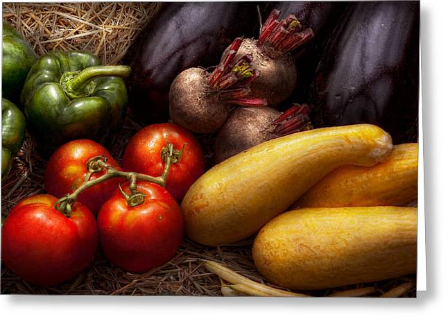 Food - Vegetables - Peppers Tomatoes Squash And Some Turnips Greeting Card by Mike Savad