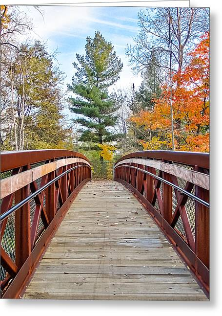 Foot Bridge In Fall Greeting Card