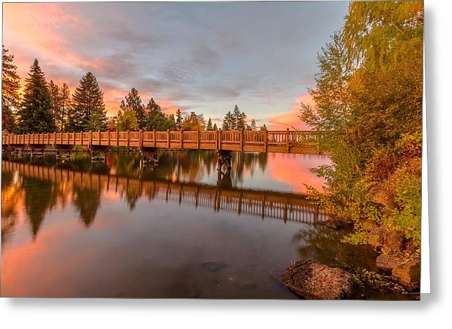 Foot Bridge Over Mirror Pond Greeting Card by John Williams