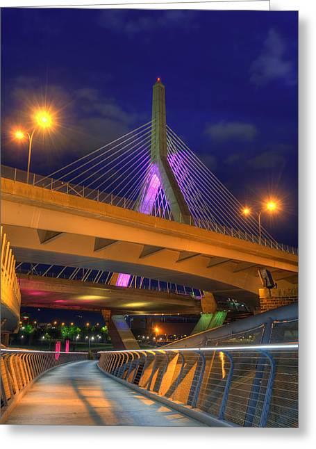 Foot Bridge Under The Zakim Bridge Greeting Card by Joann Vitali