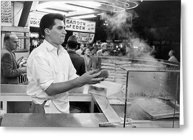 Foot Long Hot Dog Vendor Greeting Card by Underwood Archives