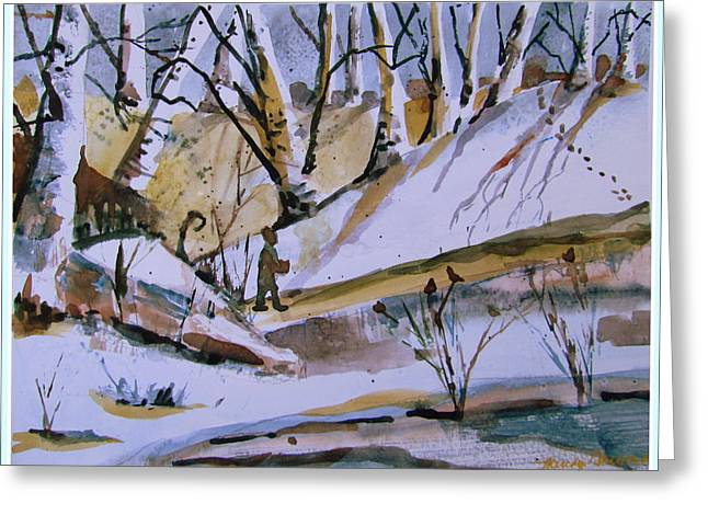 Foot Steps In The Silence Greeting Card by Mindy Newman