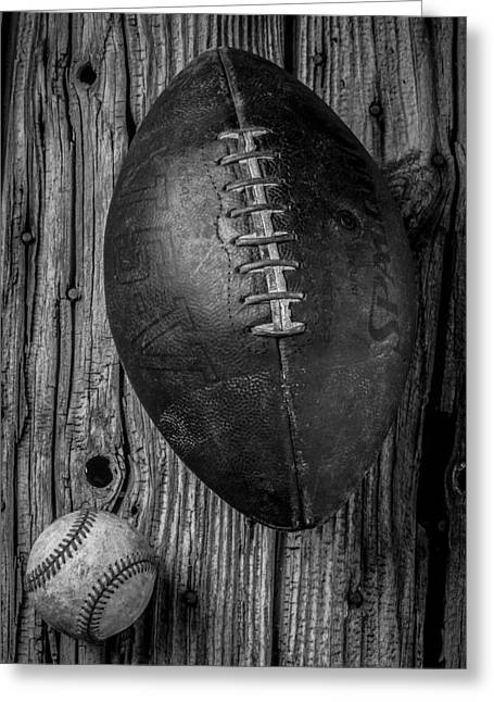 Football And Baseball Greeting Card by Garry Gay