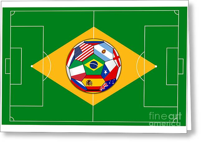 football field with ball - Brazil 2014 Greeting Card by Michal Boubin