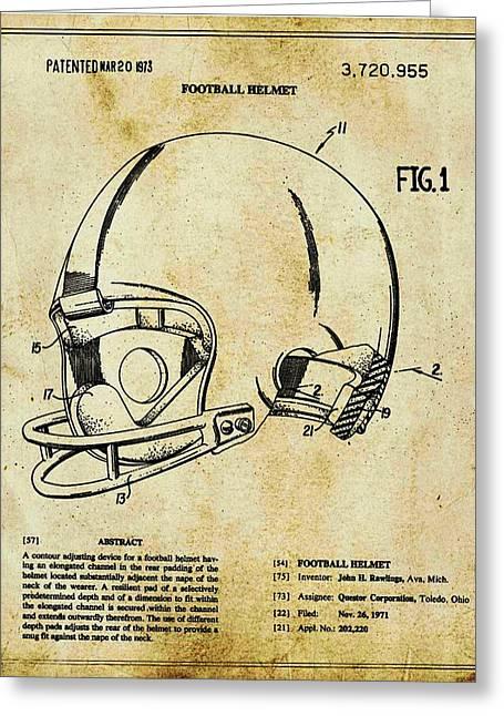 Football Helmet Patent Blueprint Drawing Tan Greeting Card