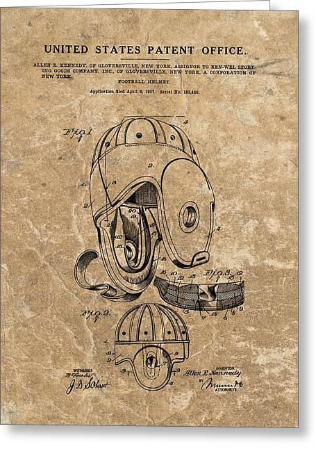 Football Helmet Patent Vintage Greeting Card
