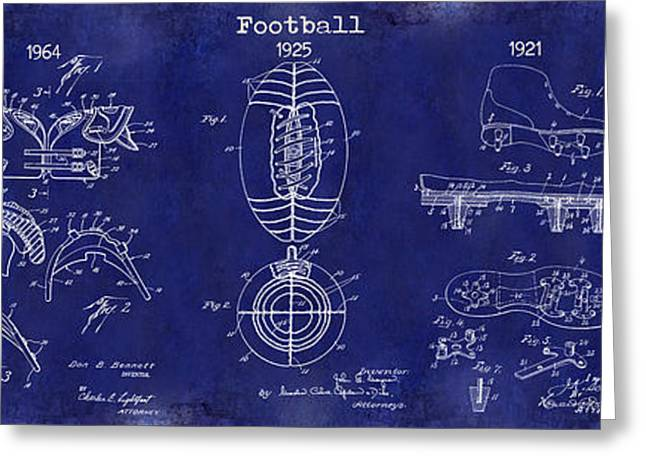 Football Patent History Blue Greeting Card by Jon Neidert