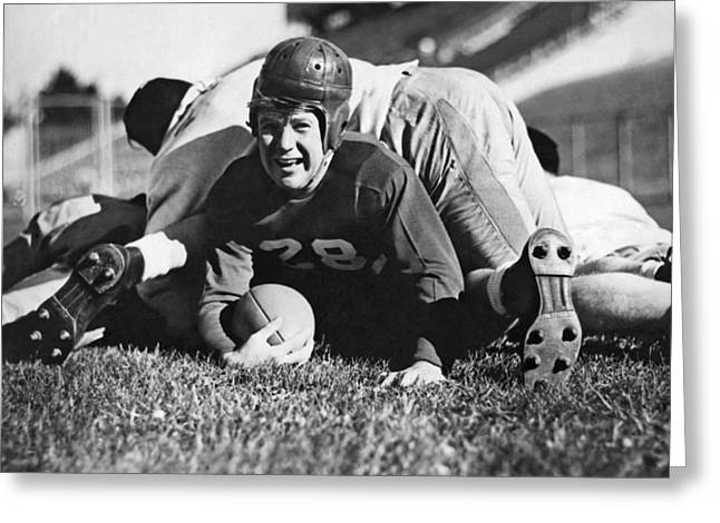 Football Player Gets Tackled Greeting Card by Underwood Archives