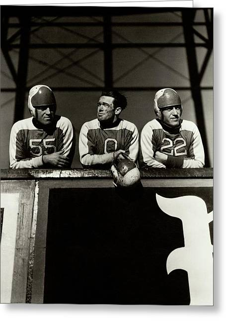 Football Players Greeting Card by Lusha Nelson