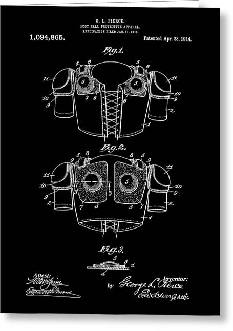 Football Shoulder Pads Patent 1913 - Black Greeting Card by Stephen Younts