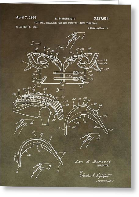 Football Shoulder Pads Patent Greeting Card