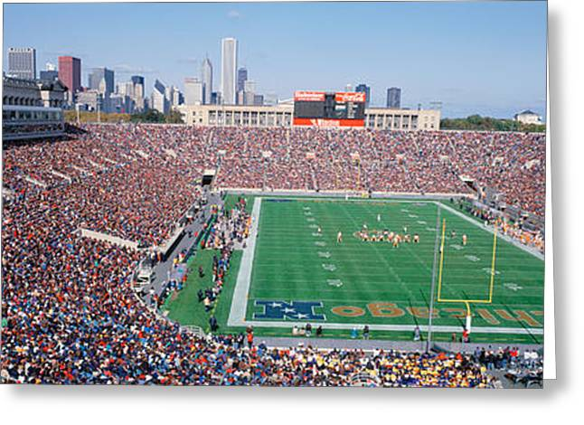 Football, Soldier Field, Chicago Greeting Card by Panoramic Images