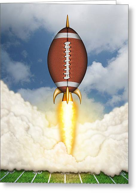Football Spaceship Greeting Card