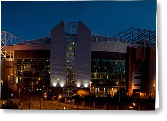 Football Stadium Lit Up At Night, Old Greeting Card