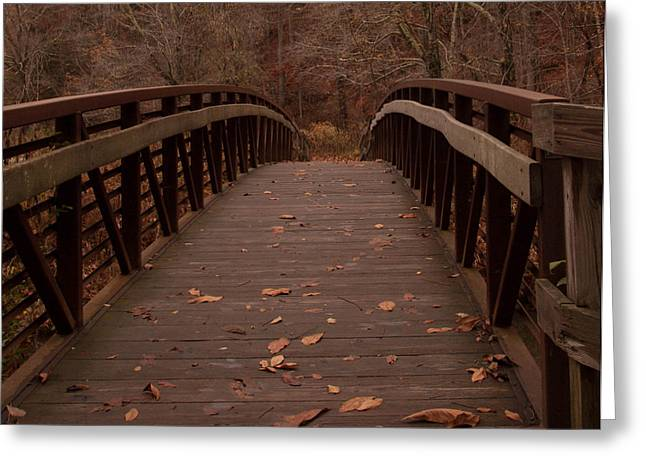 Greeting Card featuring the photograph Footbridge At Conkle's Hollow by Haren Images- Kriss Haren