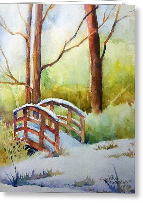 Footbridge At Goosehaven In Lafayette Colorado Greeting Card