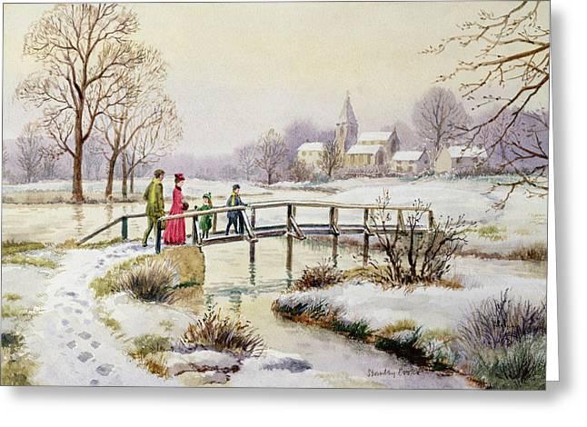 Footbridge In Winter Greeting Card by Stanley Cooke