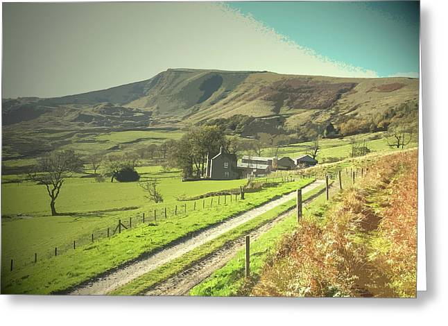 Footpath And Track At Woodseats, Farm Dwelling Greeting Card
