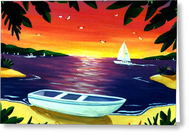 Footprints In Paradise Greeting Card by Lance Headlee