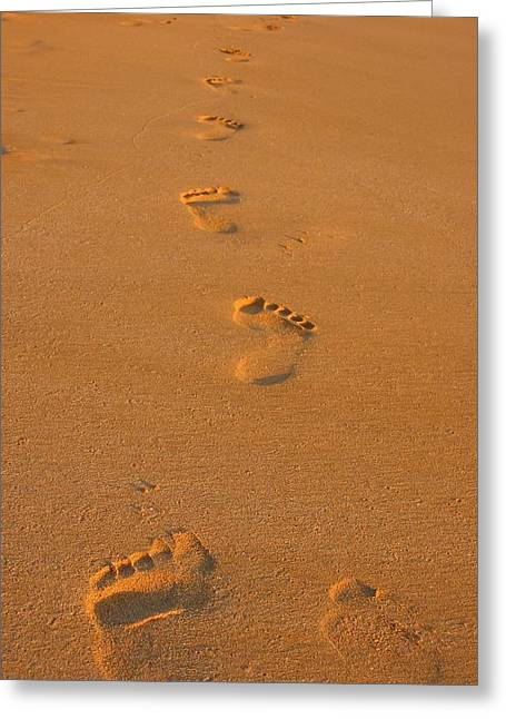 Footprints In The Sand Greeting Card by Andreas Thust